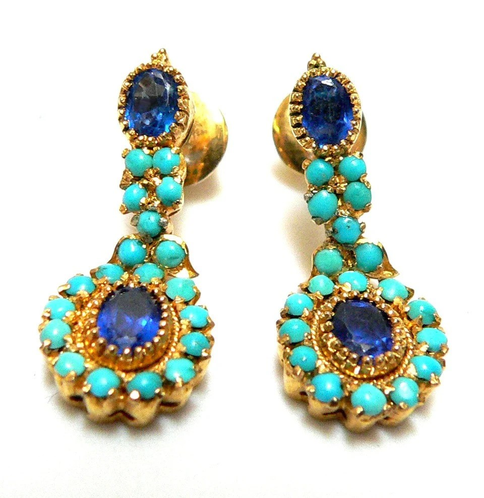 VICTORIAN  Paste Stones and Gilt Threaded Pierced Earrings - free shipping