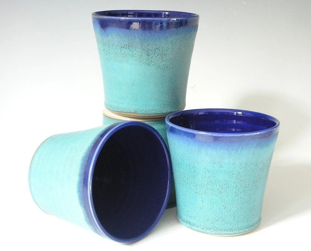 Made to Order...Set of 4 Tumblers in Cobalt and Turquoise