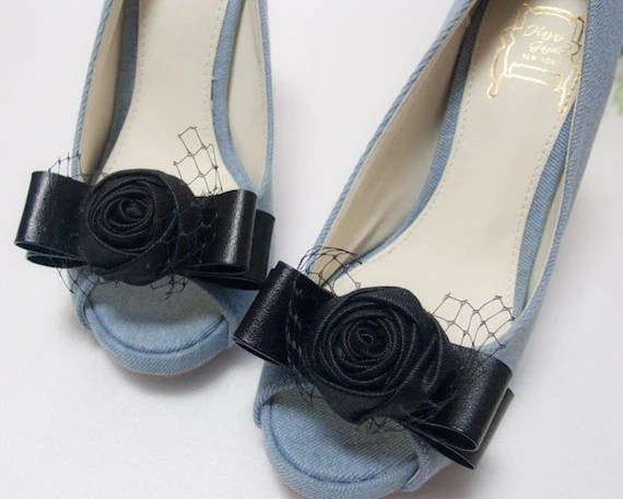 Black rose bow shoe clips