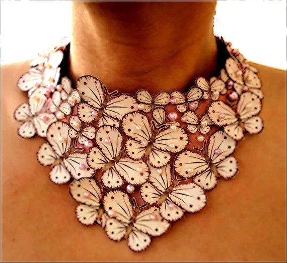 For You: Gorgeous Pink Butterfly Necklace. Artist Aid for Japan. Buy from Etsy Online Gift Shop.