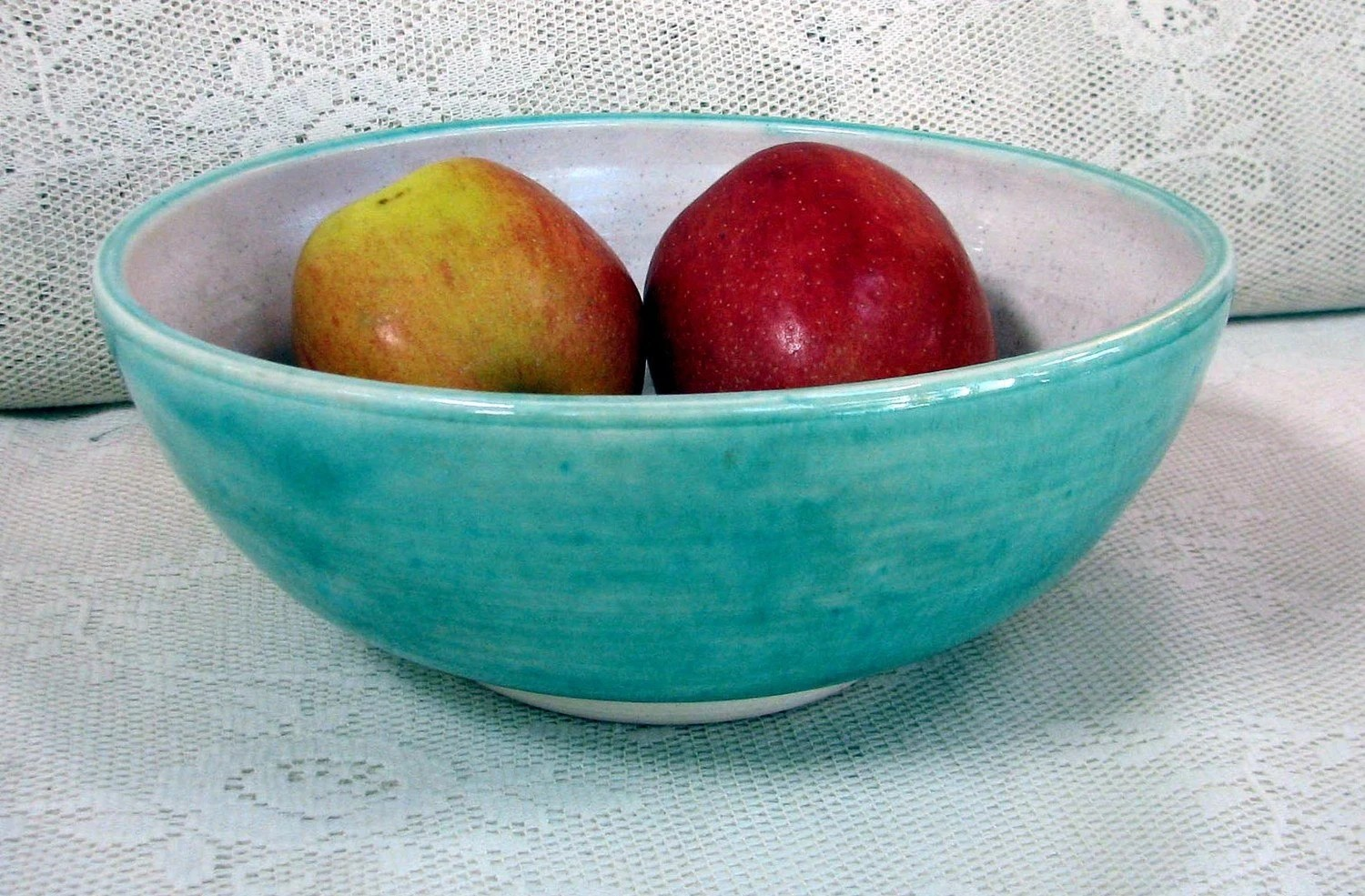 Aqua blue crackle serving bowl