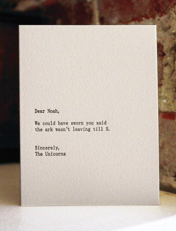 dear noah. letterpress card