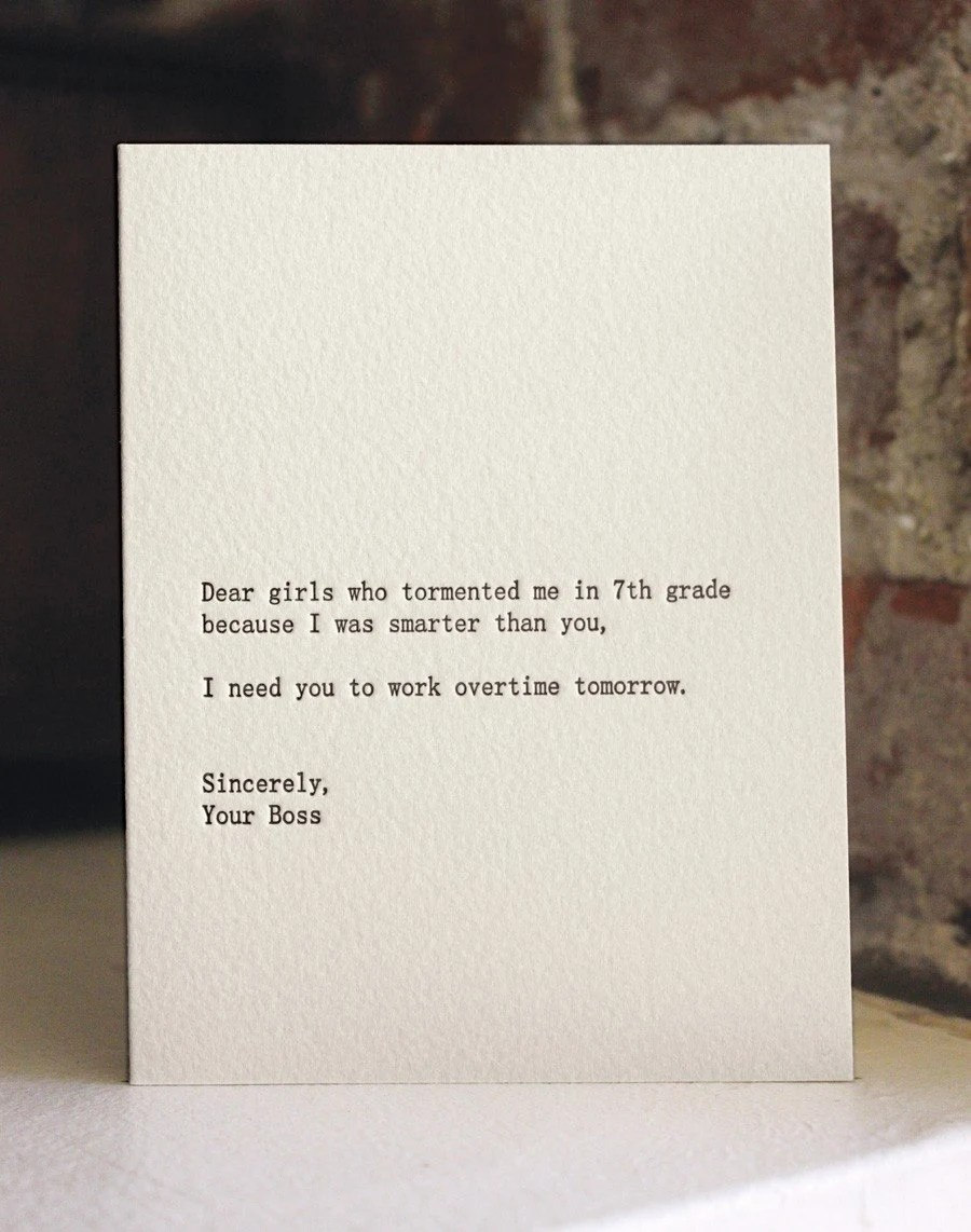 dear girls. letterpress card