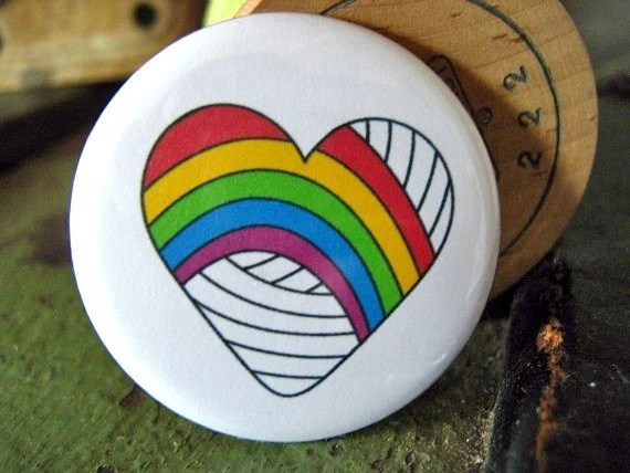 Rainbow Heart pinback button badge - UNPACKAGED