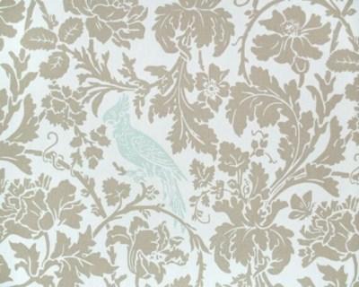 New-Decorative Designer Fabric-Mocha and Natural Floral w/ Powder Blue Bird-1/2 yard