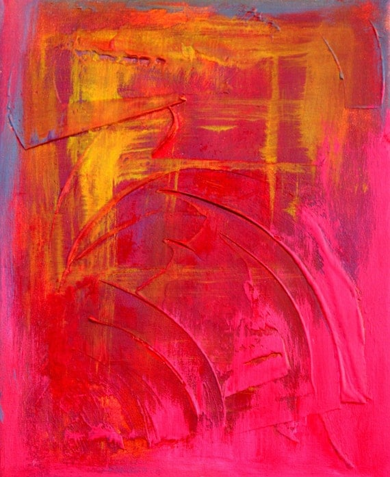 Spring Sale - Japanese Sunset - Triptych Impasto Red Abstract Painting on Canvas Modern Fine Art by Artist Laura Barbosa- BarbosaArt