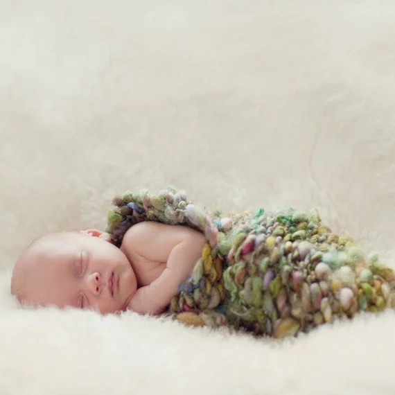 Grain - Cocoon for Newborn Baby Photographers - Italian Hand Painted Yarn