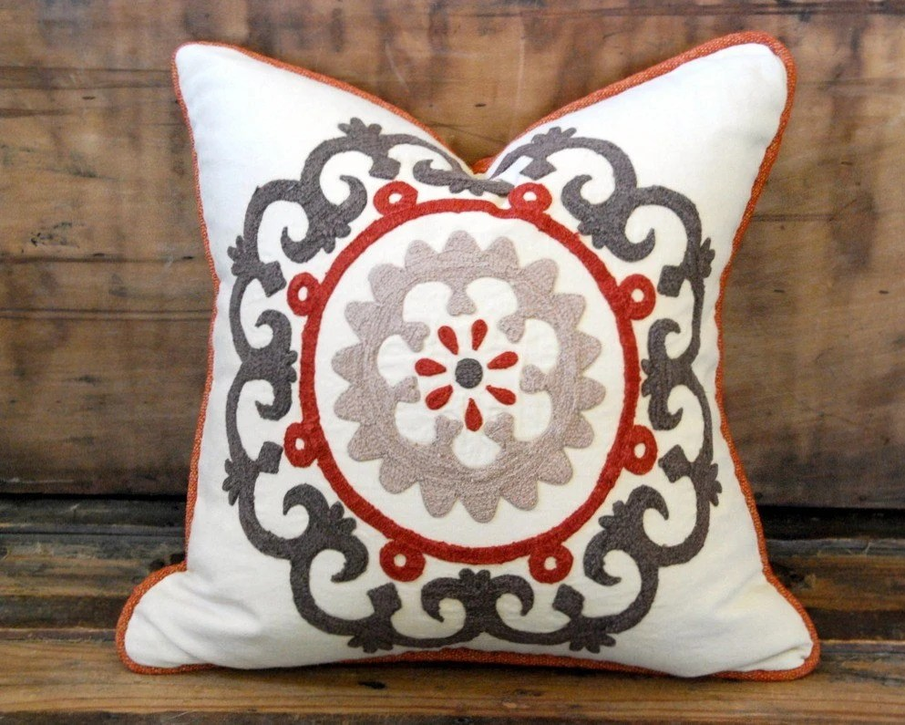 18x18 Suzani Embroidered Linen Designer Pillow with Luxury Down Blend Insert