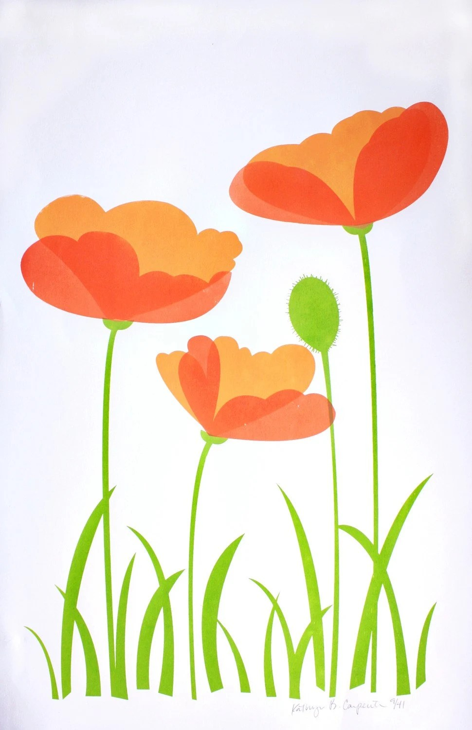 Evening Poppies (Hand-pulled screenprint)