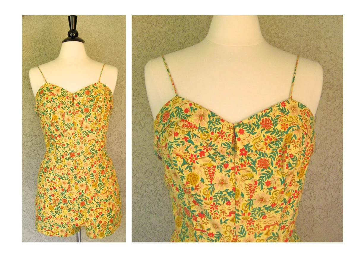 Vintage 1950's Robby Len Golden Yellow Floral Tropical Swimsuit