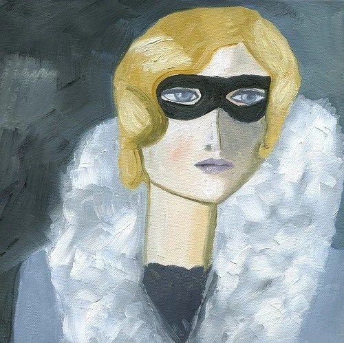Iris H., Incognito.  Limited edition print of an original oil painting by Vivienne Strauss.
