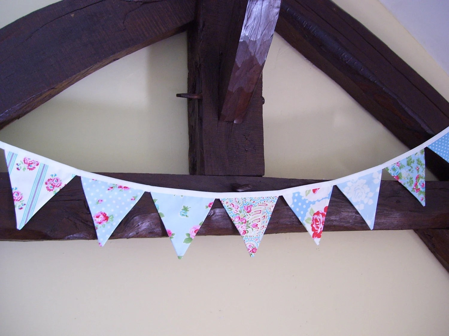 "Mini fabric bunting 6 feet 6"" long in duck egg blue, a mini version of True Romance, only sweeter..."