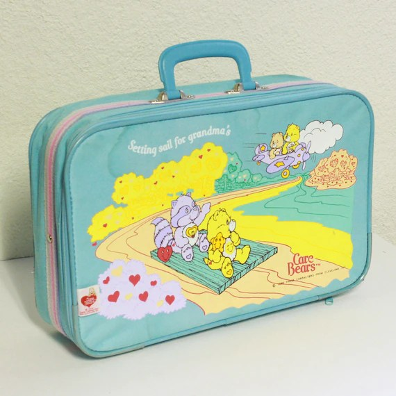 Vintage luggage - suitcase - care bears - setting sail for grandmas - childrens - light blue