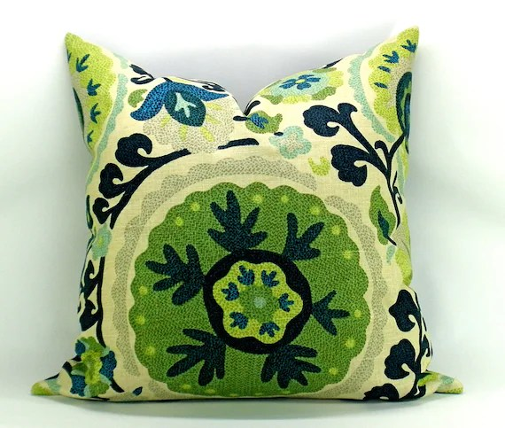 Suzani pillow cover in navy, aqua, citron and green - 20 x 20