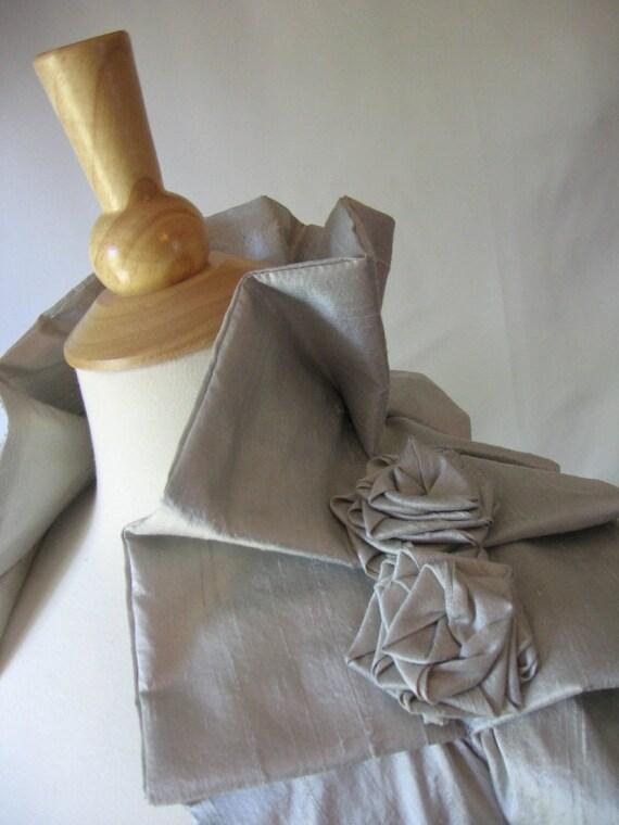 Veronica Silver Silk Shoulder Wrap Shrug