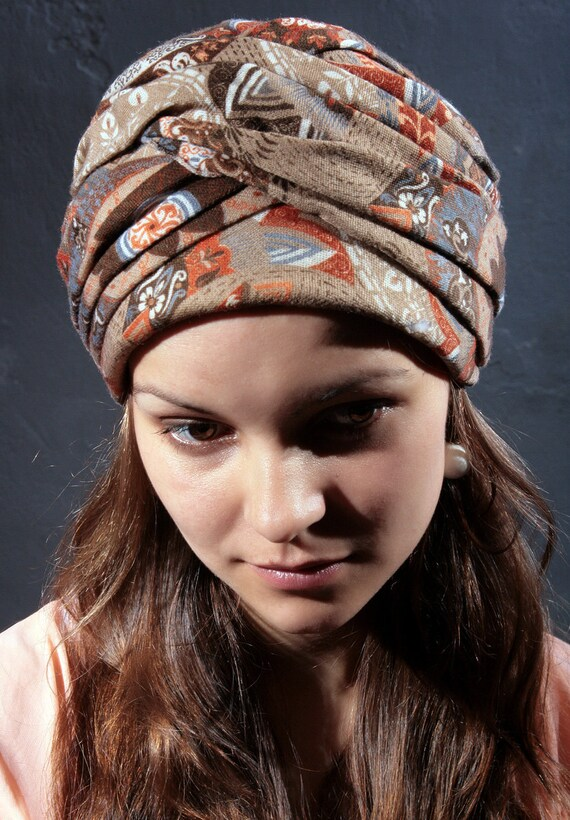 Vintage Full Turban from 1970s in Shades of Brown