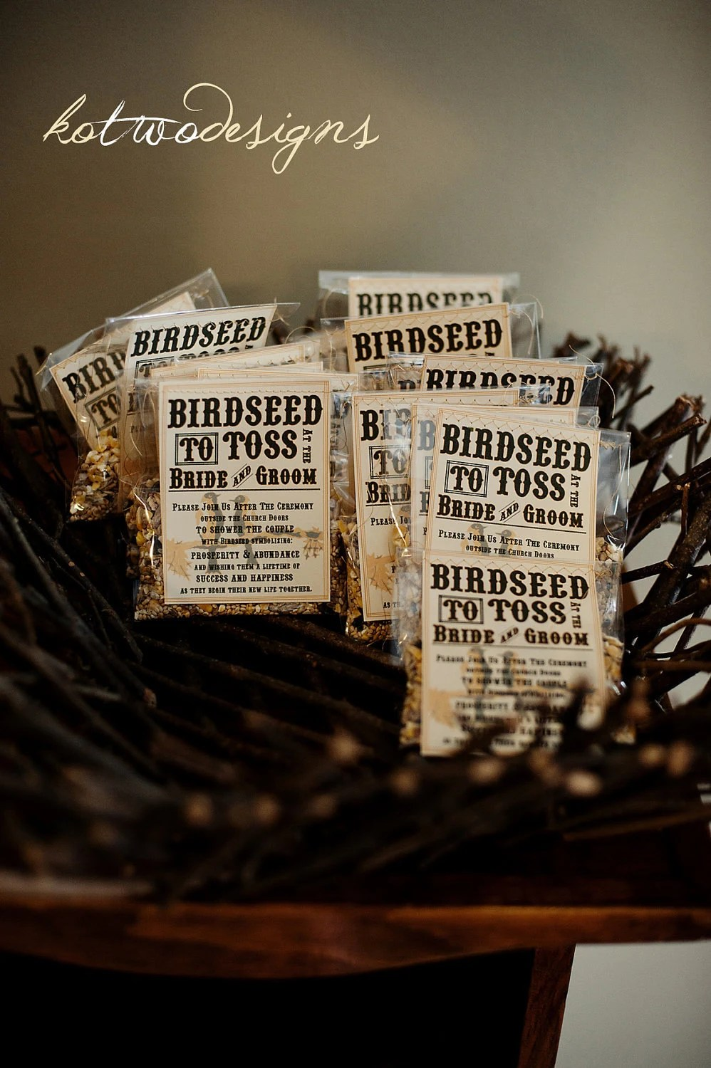 Birdeseed Tossing Bags with Sewn on Rustic Tags