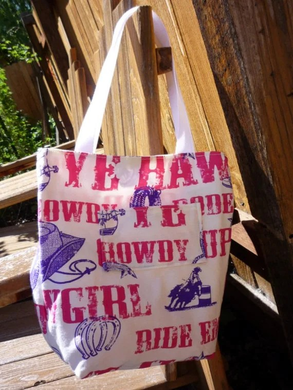 COWGIRL Pink & Purple Western Tote Bag Small