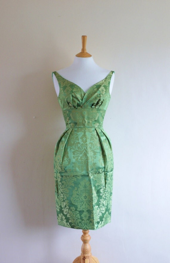 Mint Green Vintage Brocade Wiggle Dress - made by Dig For Victory