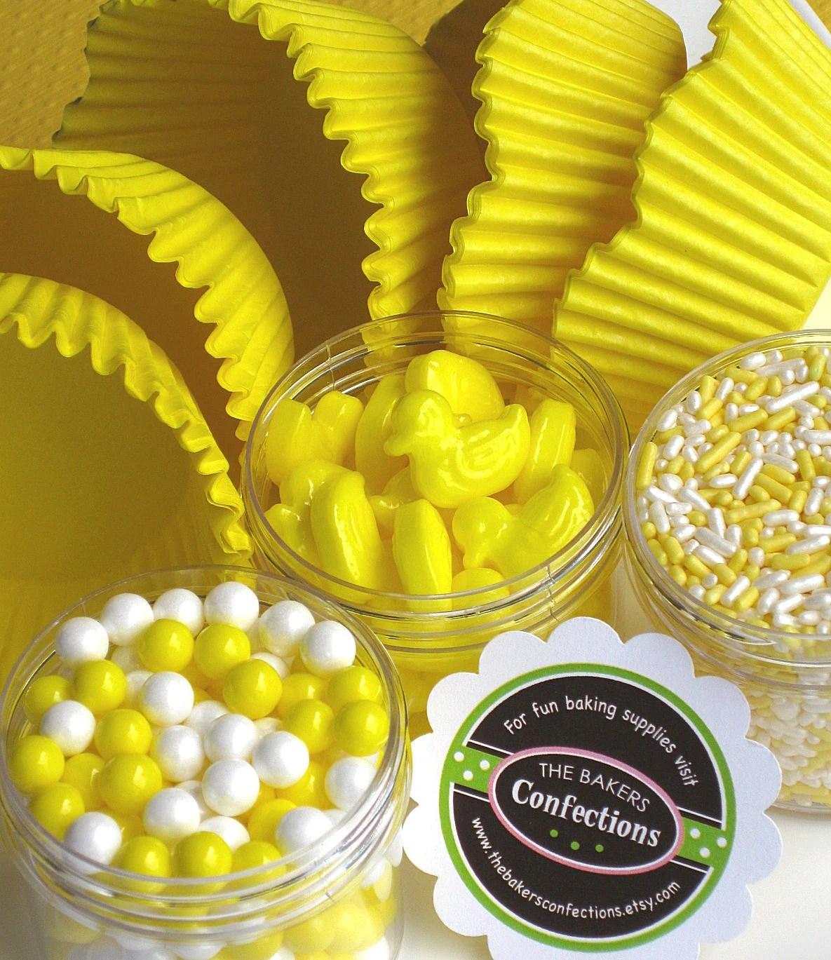 Yellow Duck Cupcake Kit with Liners, Sprinkles, Sugar Pearls, Edible Duck Toppers