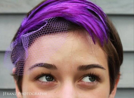 STUNNING PURPLE HACKLE Headband with Veil