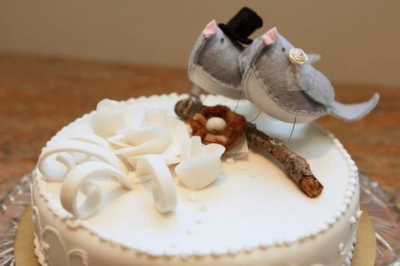 Just too tweet cake topper for wedding- CUSTOM MADE