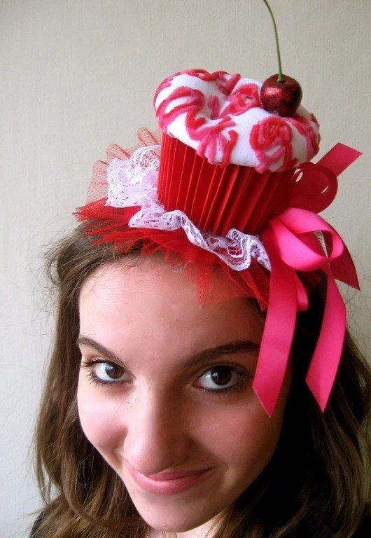 Cupcake Party Hat (White, Red, and Pink)