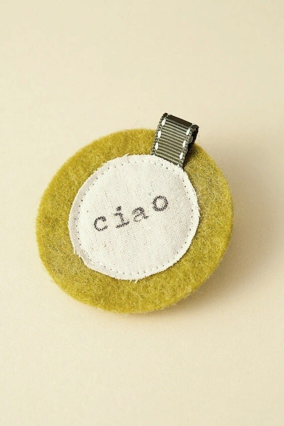 Green felt stamped muslin clip - Ciao