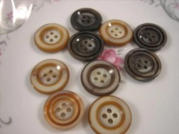 SALE --Storewide Big Button Clearance--10 Nut Ivory/Tagua Nut Carved Buttons--13/16 of an inch or 2 cm--5 chocolate brown, 5 camel