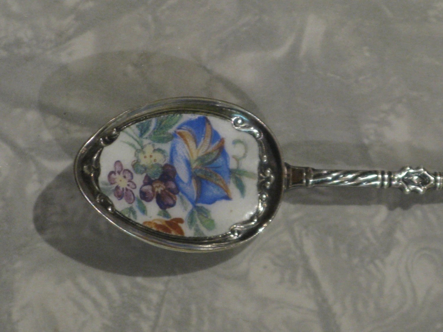 Antique '90' Silverplate Stag Hoof Enameled Decorative Spoon with Flower Motif Morning Glory
