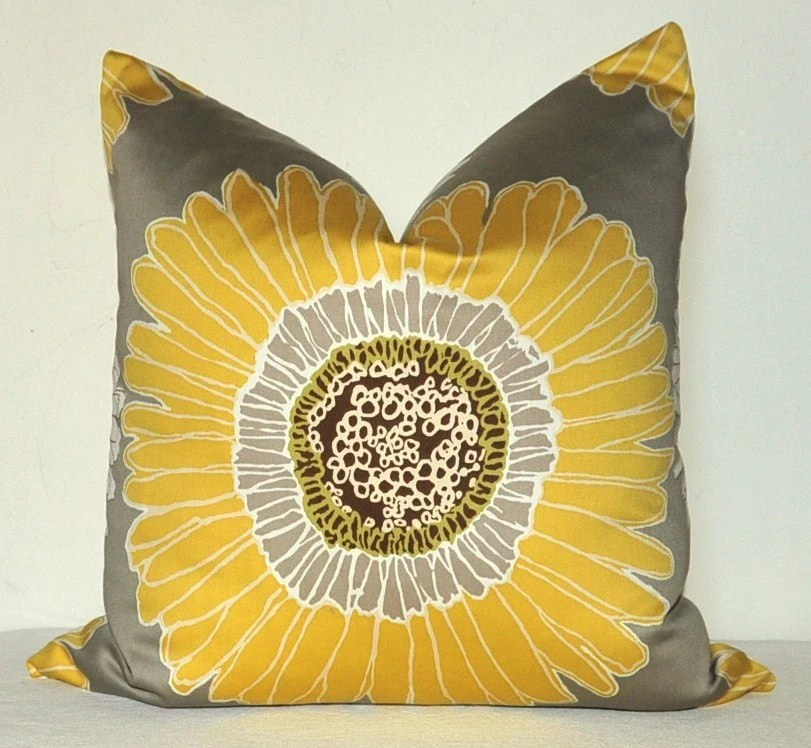 Decorative Pillow Cover - Floral Print - 22x22 inch - Dahlia - Chrysanthemum - Daisy - Yellow - Taupe - White - Throw Pillow - Toss Pillow