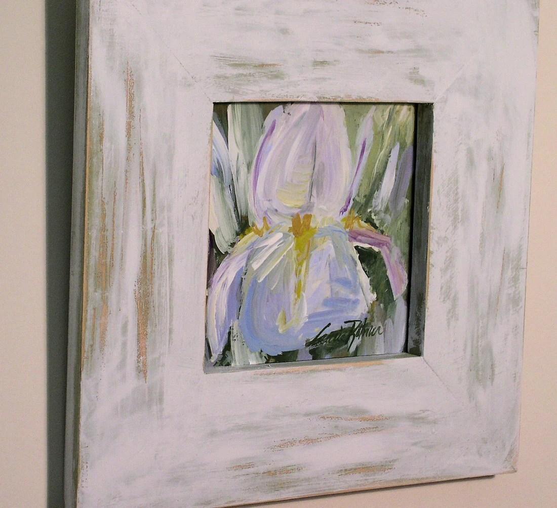 Sensational Framed Shabby Chic Hand Painted Iris