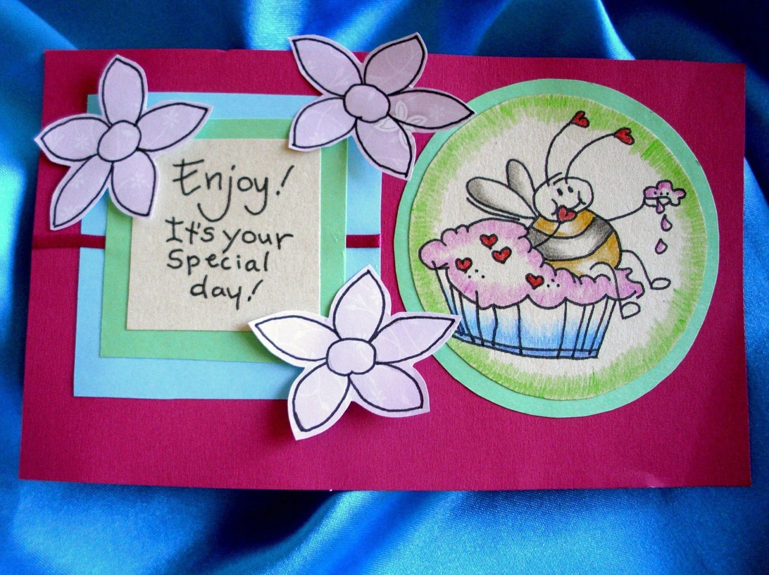 Special Bee Day Cupcake Card - Hand Drawn and Handmade (Only one made)