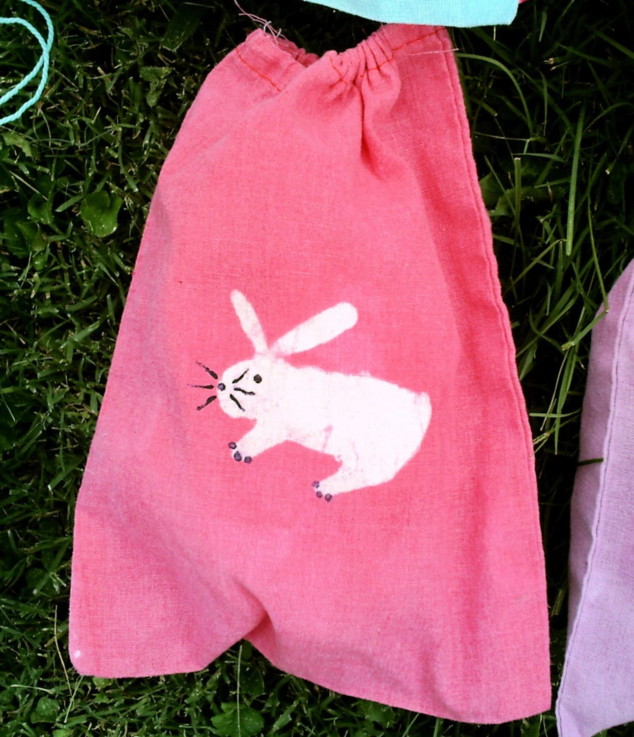 FREE SHIPPING fuchsia pink batik BUNNY mini 8x10 drawstring bag great for knitters spinners