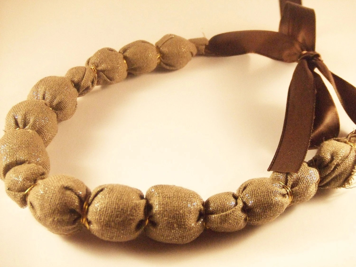 Light Brown Beaded Necklace