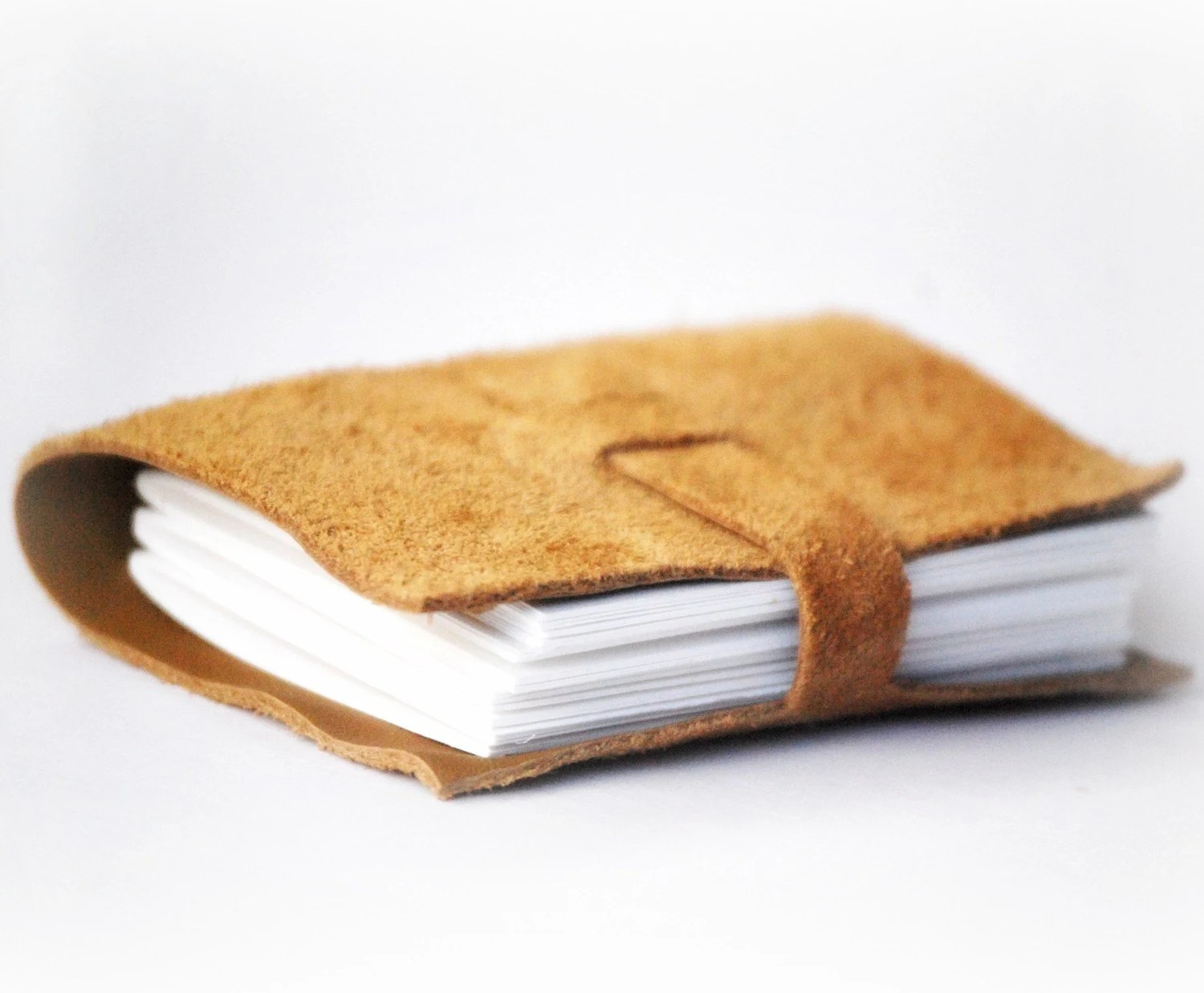 Reclaimed Leather Journal, Notebook, and Sketchbook - Eco-Friendly and Recycled - Honey Caramel White Tan