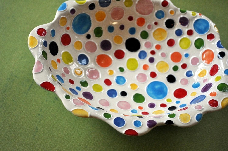 Rainbow Polka-Dot Wavy Rimmed Dish