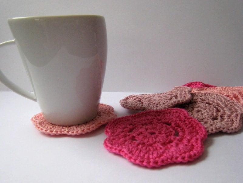 pink crochet coasters