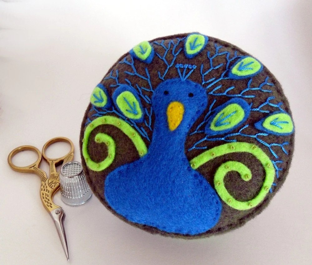 embroidered peacock, pin cushion, pincushion, spincushions