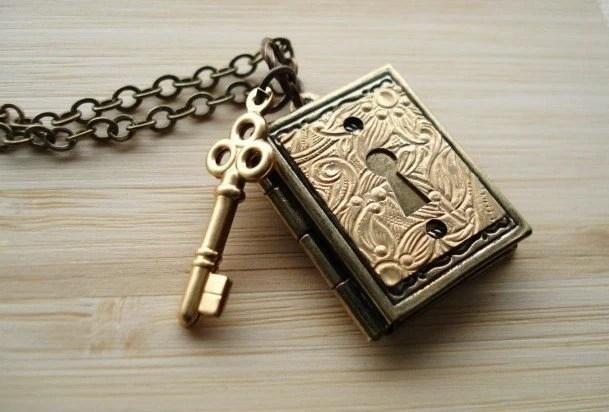 Book Necklace Key/Lock