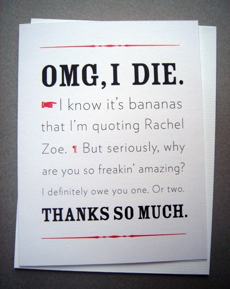 I Die thank you card