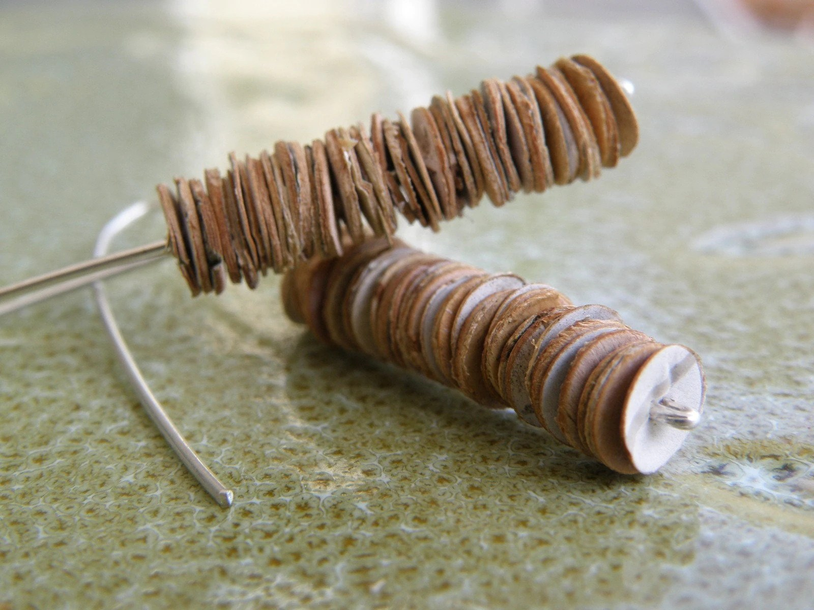 PUNCHY BIRCH. birch bark disk earrings with sterling silver wire