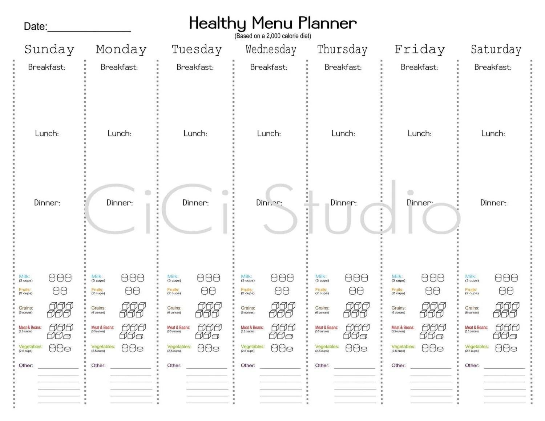 Daycare Menu Planning Printables