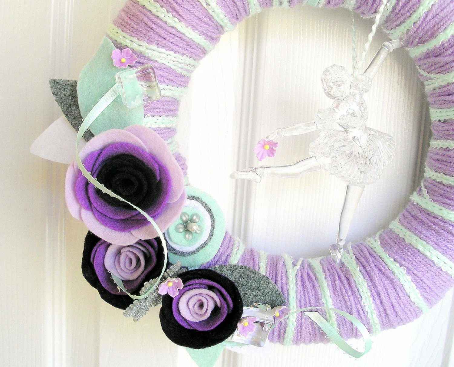 Plum Ice Dancer Yarn Wreath