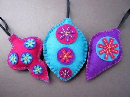 Trio of Bright Mod Baubles - felt ornaments