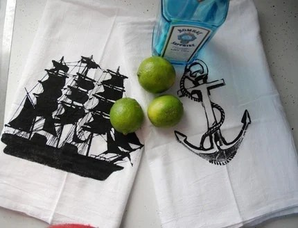 Nautical Cotton Bar Towels Set of Two