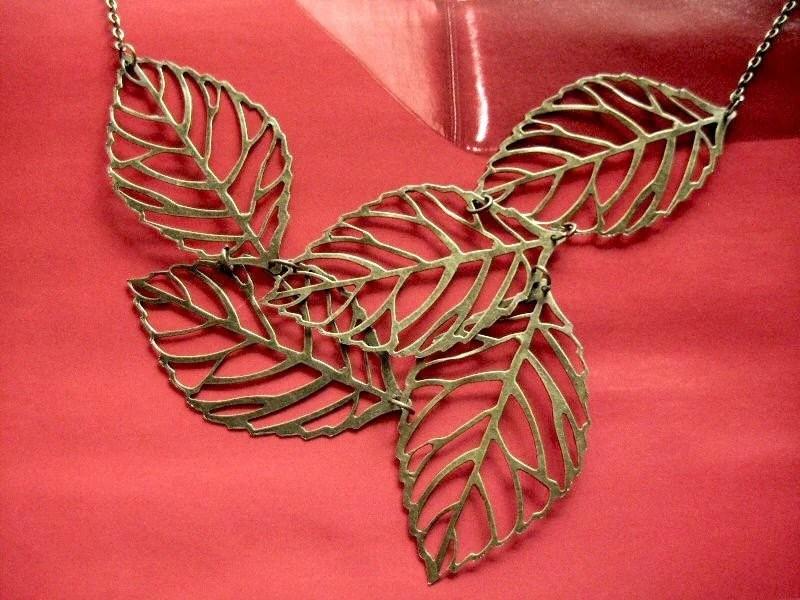 leaves necklace - vintage style brass chunky big multi leaf necklace