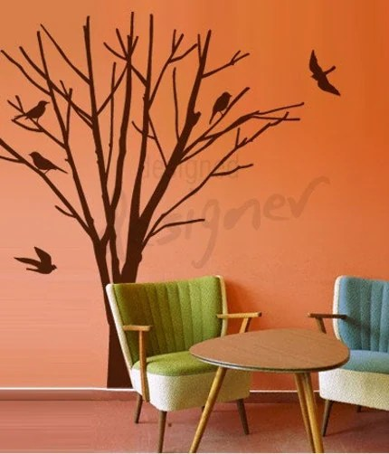 Winter Tree with Birds Removable Graphic Wall Decal