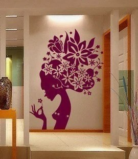 wallpaper wall glass sticker decal big flower girl 70 inc x 47 inc - Designer Walls