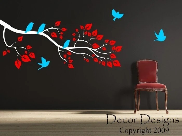 Playful Birds Around The Branch Wall Decal FREE SHIPPING